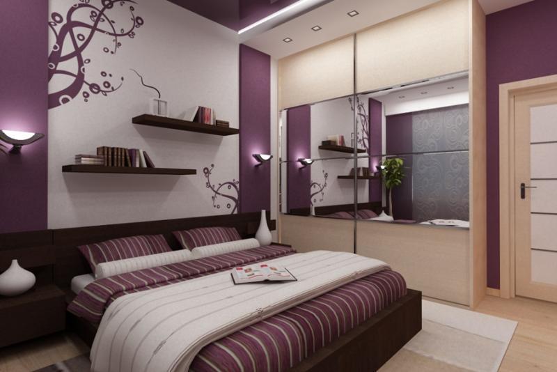 Спальня в фиолетовых тонах. Спальня – это помещение, где человек чувствует покой и умиротворение, отдыхает телом и душой.