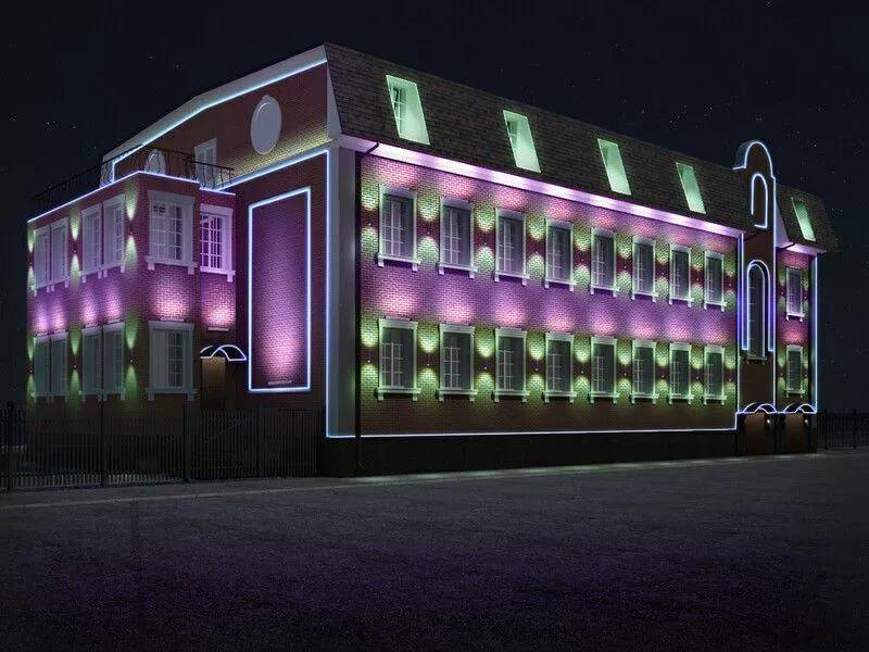 Подсветка архитектурных деталей фасада
